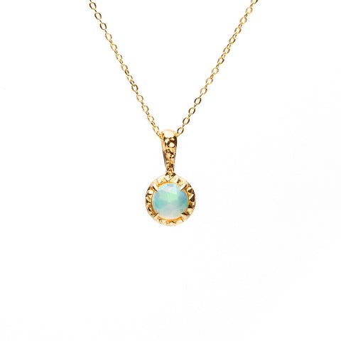 READY TO SHIP | MATRIX HALO NECKLACE | GOLD VERMEIL & OPAL - AngelaMonacojewelry