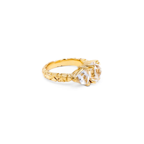 STONE AGE COCKTAIL RING | 14k GOLD & HERKIMER - AngelaMonacojewelry