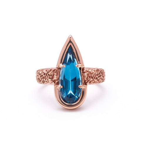 NEW | PHOENIX TEAR RING | BLUE TOPAZ & ROSE GOLD VERMEIL - AngelaMonacojewelry
