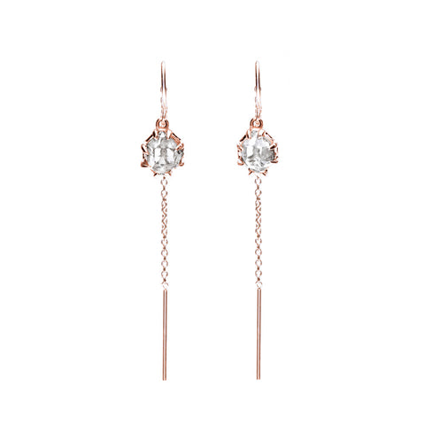 RAW U-BAR THREADER EARRINGS | ROSE GOLD VERMEIL & HERKIMER - AngelaMonacojewelry