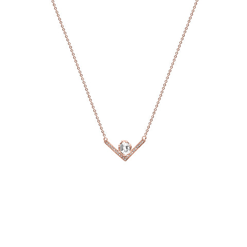 VENUSIAN NECKLACE | ROSE GOLD WITH DIAMONDS - AngelaMonacojewelry
