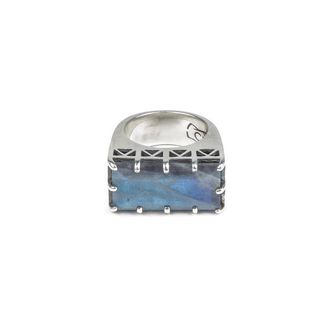 EAST WEST CROWN RING | SILVER & LABRADORITE - AngelaMonacojewelry