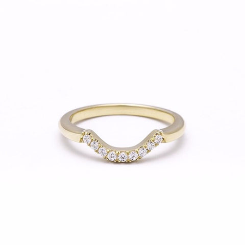READY TO SHIP | PAVE ARC 9 STONE CONTOUR BAND | 14k GOLD & DIAMOND | SIZE 7 - AngelaMonacojewelry