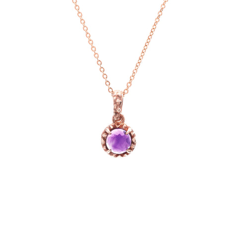 MATRIX HALO NECKLACE | ROSE GOLD VERMEIL & AMETHYST - AngelaMonacojewelry