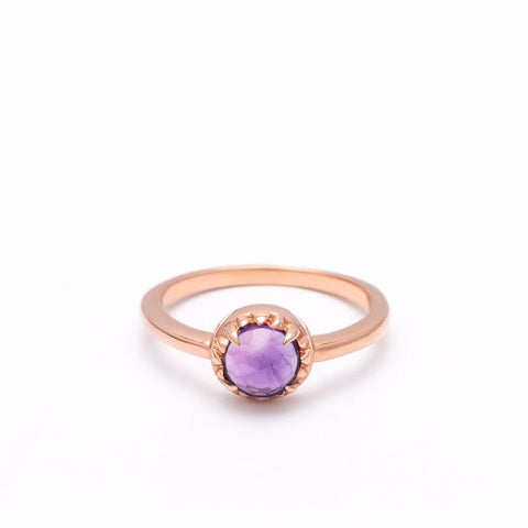 MATRIX HALO RING | ROSE GOLD VERMEIL & AMETHYST - AngelaMonacojewelry