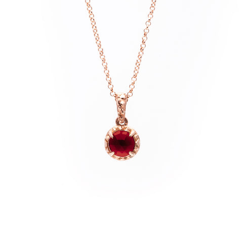 MATRIX HALO NECKLACE | ROSE GOLD VERMEIL & GARNET - AngelaMonacojewelry