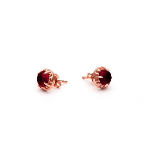 MATRIX HALO STUDS | ROSE GOLD VERMEIL & GARNET - AngelaMonacojewelry