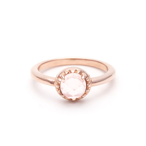 MATRIX HALO RING | ROSE GOLD VERMEIL & ROSE QUARTZ - AngelaMonacojewelry