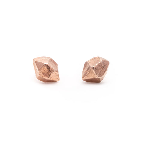 MEDIUM QUARTZ STUDS | ROSE GOLD VERMEIL - AngelaMonacojewelry
