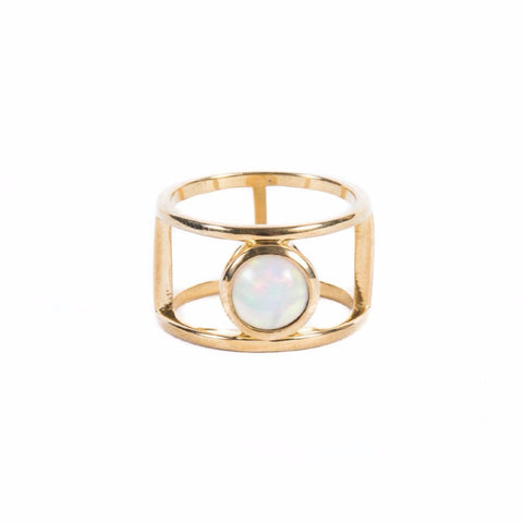 DOUBLE BAND RING | GOLD VERMEIL & OPAL - AngelaMonacojewelry
