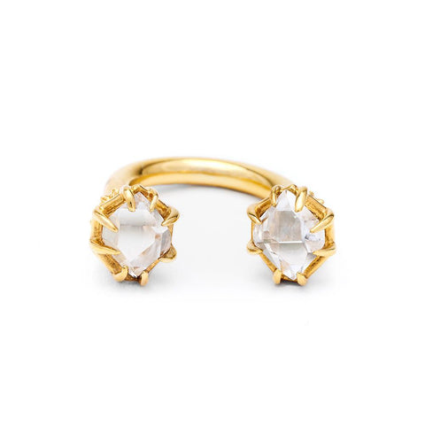 STATEMENT PASSAGE RING | GOLD VERMEIL & HERKIMER - AngelaMonacojewelry