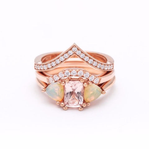 THREE STONE ENCHANTMENT UNION (No. 02) | ROSE GOLD