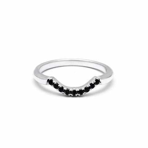 NEW | PAVE ARC 9 STONE CONTOUR BAND | SILVER & BLACK DIAMOND - AngelaMonacojewelry