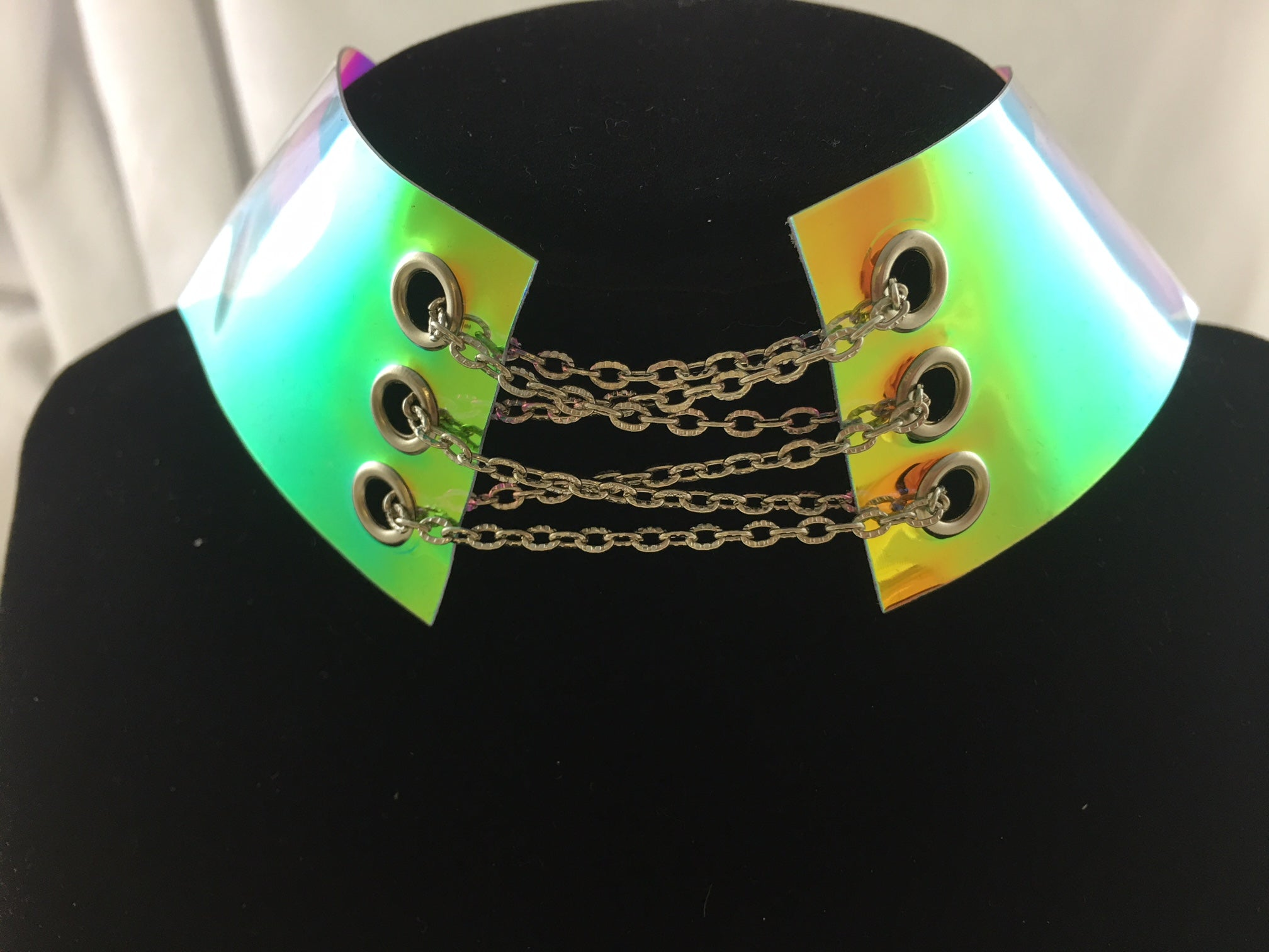 Choke Me in Chains Choker Necklace in Iridescent