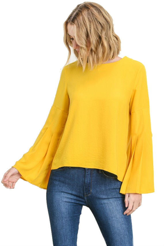 women yellow pleated bell long sleeve blouse buttons in the back