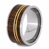 Wood Wedding Band with yellow and rose gold stripes