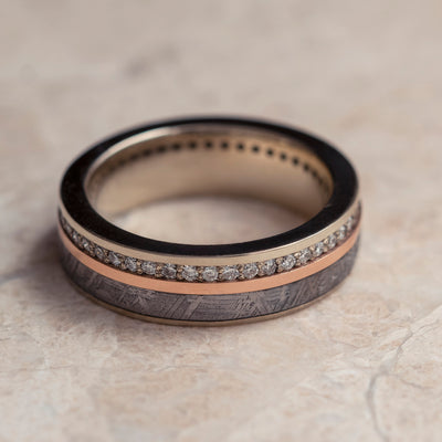 Diamond Eternity Band With Rose Gold & Meteorite