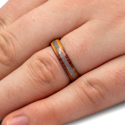 Exotic Tulipwood Ring With Meteorite