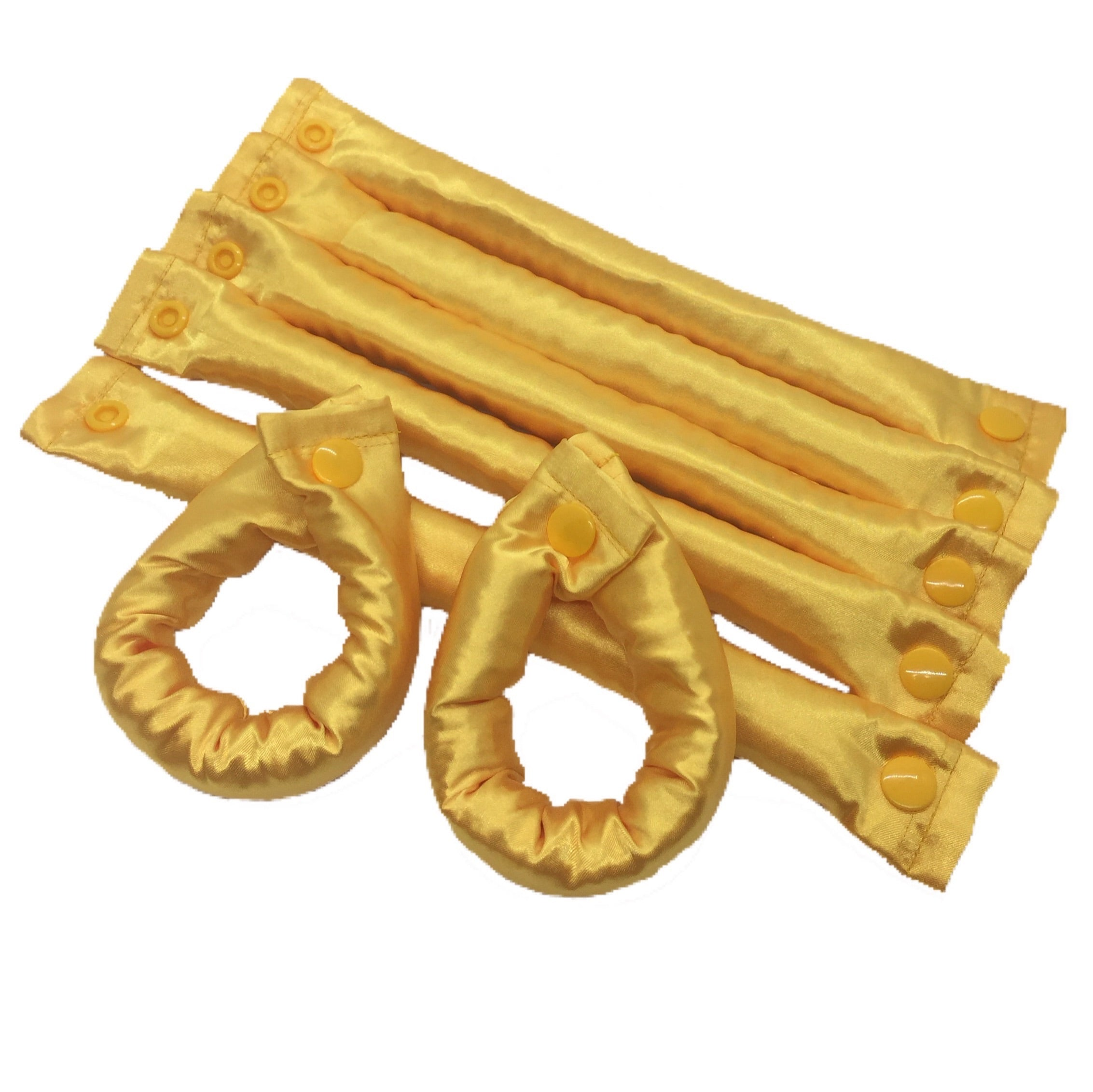 Yellow/Gold Satin Hair Rollers - Fabric Hair Accessory - My Easy Curls