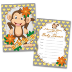 20 Baby Shower Cards and 20 Envelopes 'Let's go Bananas' Sweet Monkey