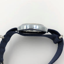 Blue NATO strap fitted to wristwatch