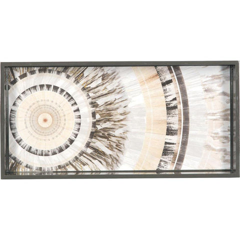 Cosmic Rings Neutral 10 X 20 Inch Rectangular Lacquer Art Serving Tray