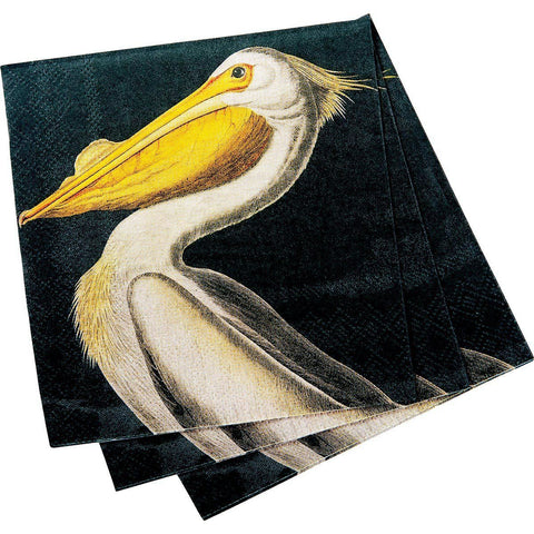 White Pelican Black/Yellow Printed Paper Cocktail Napkin