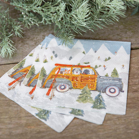 Ski Day Neutral Printed Paper Napkins - 8/25