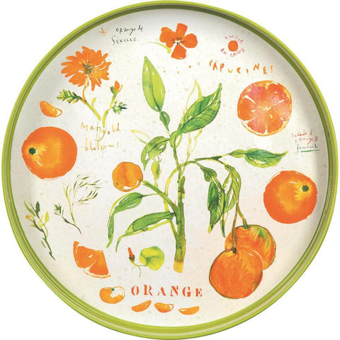 Oranges Orange 14 Inch Round Lacquer Serving Tray