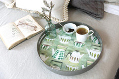 Teapots Green 14 Inch Round Lacquer Serving Tray