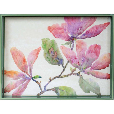Pink Magnolia 15 x 20 inch Rectangular Lacquer Art Serving Tray