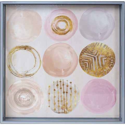 Rose Gold Medallions 15 inch Square Lacquer Art Serving Tray