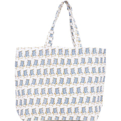 Beach Chair Blue Jute Carryall Tote Bag