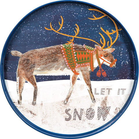 Reindeer Blue 18 Inch Round Lacquer Serving Tray - 8/25