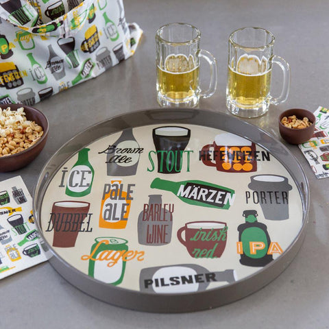 Beer Green 18 Inch Round Lacquer Serving Tray