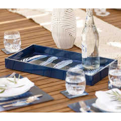 Indigo Feathers 10 x 20 inch Rectangular Lacquer Art Serving Tray - rockflowerpaper LLC