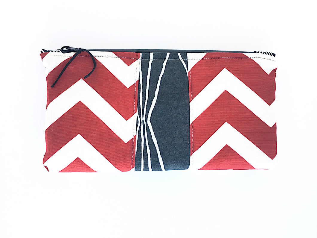 Odor Masking Cannabis Bag | Red Chevron with Grey Lines