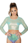 Iridescent Sheer Crop Top - ravernationshop