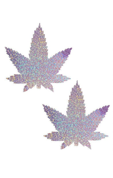 Weed Pasties in Lavender Hologram-Pasties-RaverNation
