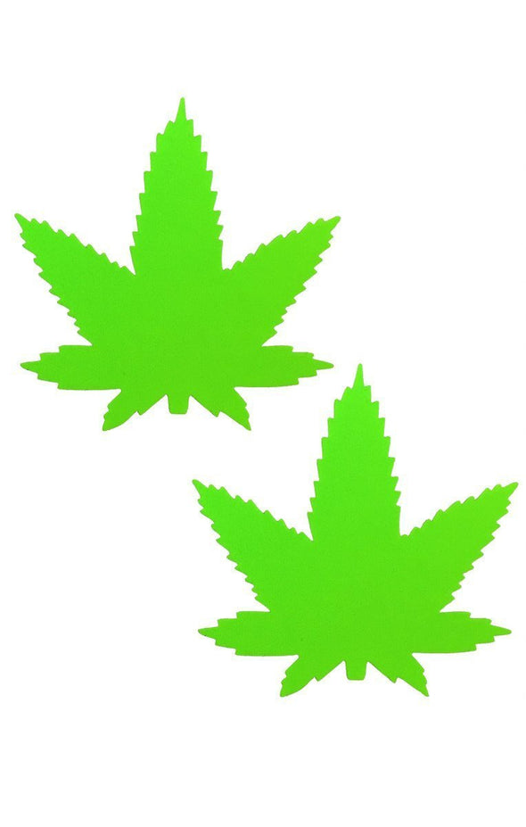 Weed Pasties in Neon Green-Pasties-RaverNation