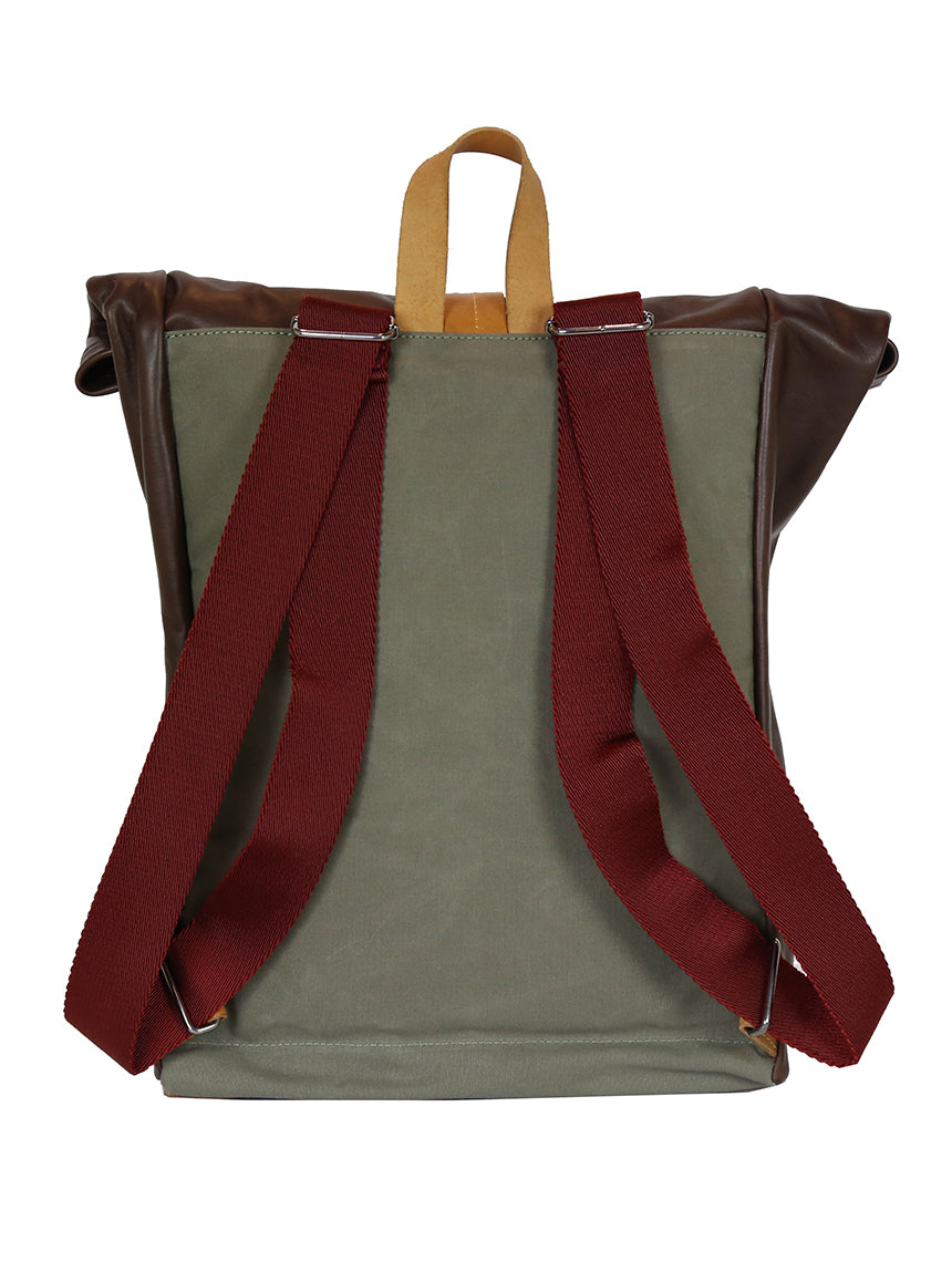 OF Urban Backpack Leather/Canvas - Green