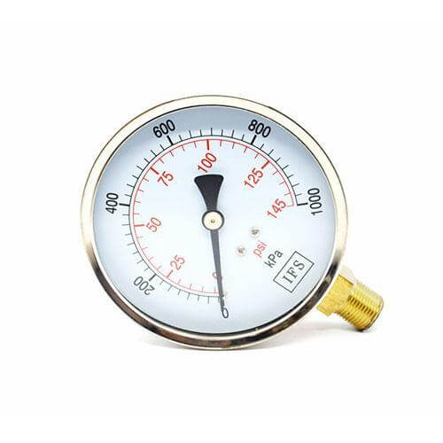 "Pressure Gauge - Liquid Fill, Stainless Steel, ¼"" BSP Bottom Entry - 25-1415"