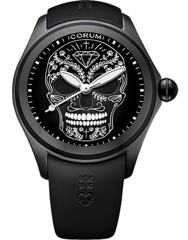 Corum Bubble 47 Skull Black Dial Men's Watch