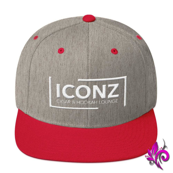 ICONZ Snapback Hat Heather Grey/ Red ICONZ