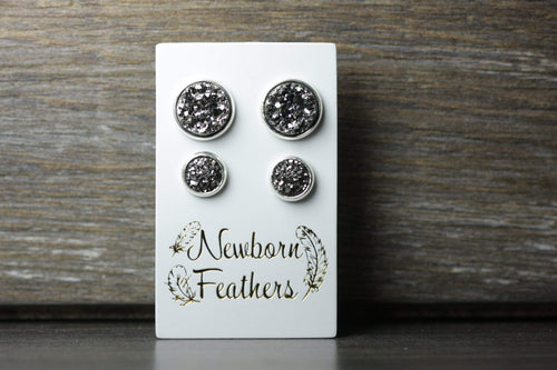 Newborn Feathers Geode Set Silver Matching Charcoal Geode Earrings Set