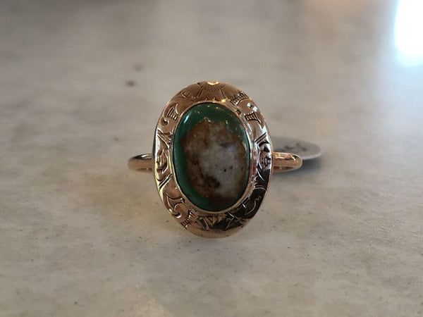 Antique 14kt And Turquiose Ring