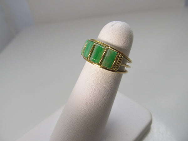 Vintage jade inlay band, 14k yellow gold