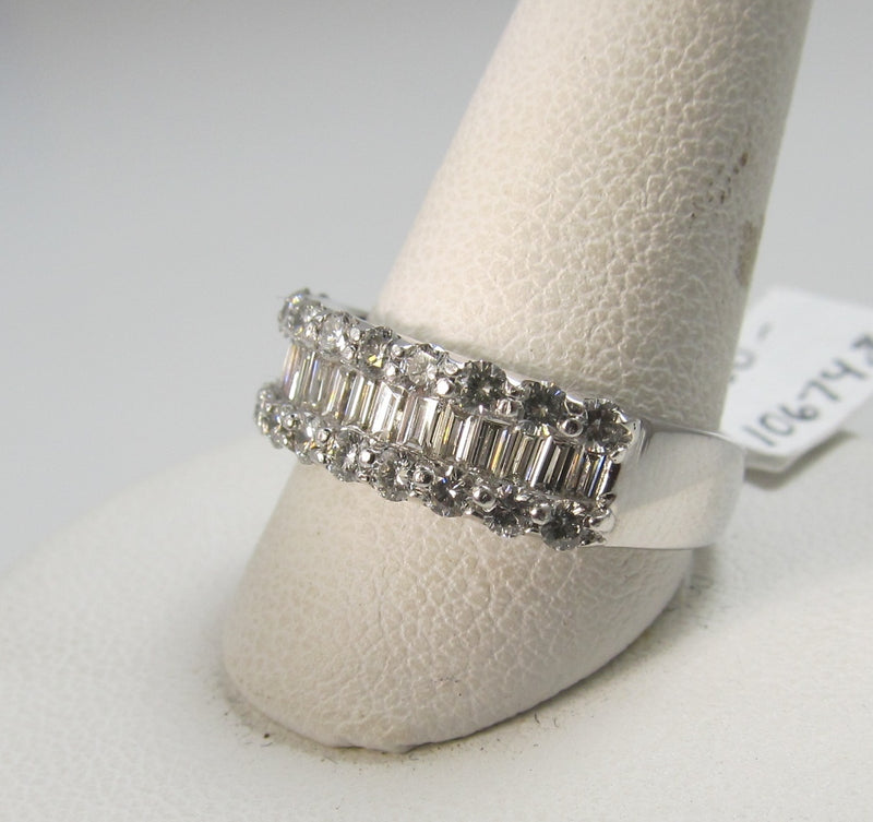 18k white gold band with 1.20cts in round and baguette cut diamonds