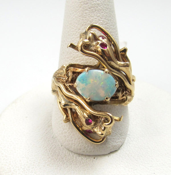 14k Rose Gold Dragon Ring With Rubies And An Opal, Circa 1930