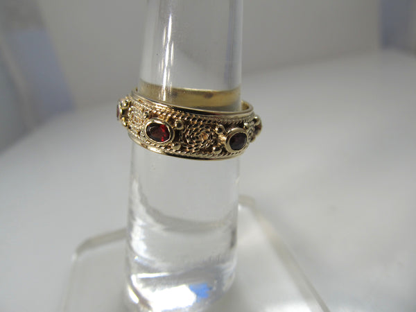 Vintage garnet eternity band, 14k yellow gold